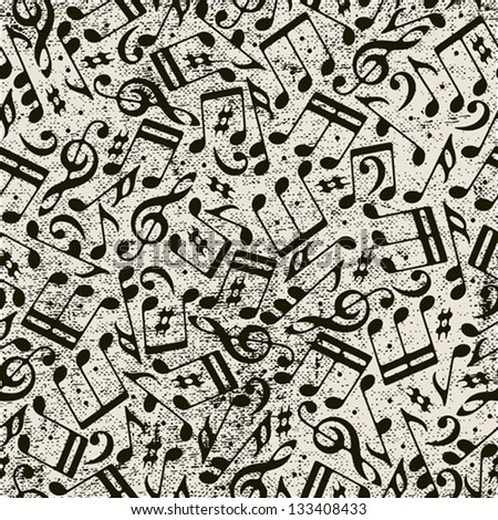 Seamless music background with notes, vector. - stock vector