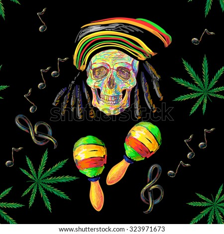 Seamless music Rastafarian pattern with cannabis, skull and maracas, treble clef, note vector background. Perfect for wallpapers, pattern fills, web page backgrounds, surface textures, textile - stock vector