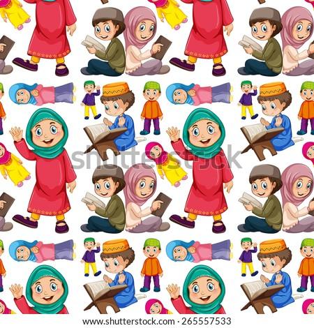 Seamless muslim man and woman - stock vector