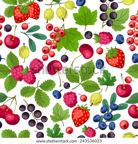 Seamless nature pattern with stylized fresh berries. - stock vector
