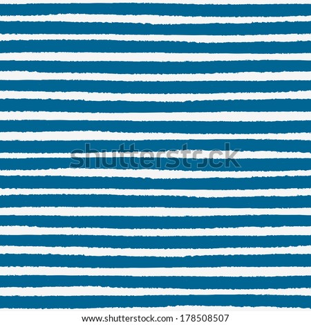 Seamless nautical pattern with hand painted brush strokes, striped background. Vector illustration - stock vector