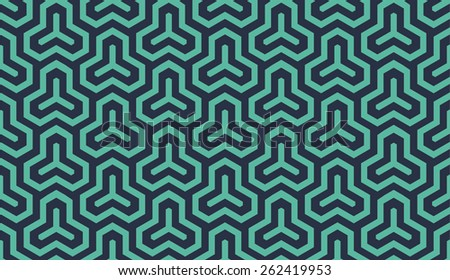 Seamless neon blue isometric hexagonal symmetry medieval pattern vector - stock vector