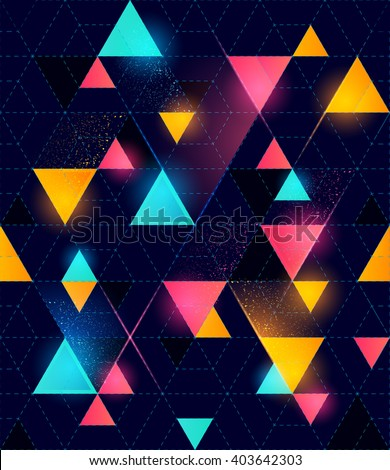 Seamless Neon Geometric Pattern. Glowing neon pattern. Vector illustration. - stock vector