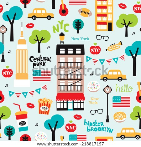 Seamless new york city travel icons and American landmark brooklyn and central park illustration background pattern in vector - stock vector