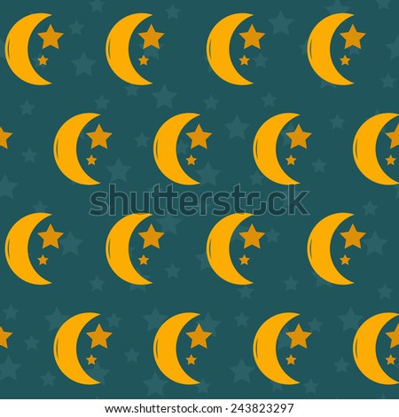 Seamless night background with moon and stars for your design - stock vector