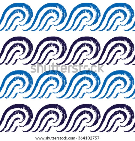 Seamless ocean pattern. Hand painted blue waves - stock vector