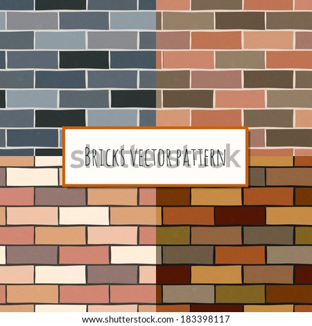 Seamless old grunge and mixed color classic brick blocks wall pattern vector illustration - stock vector