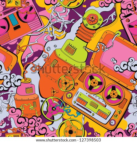 Seamless old school pattern, music and mechanisms - stock vector