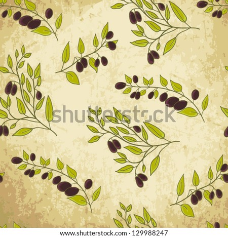 Seamless olive branch background - stock vector