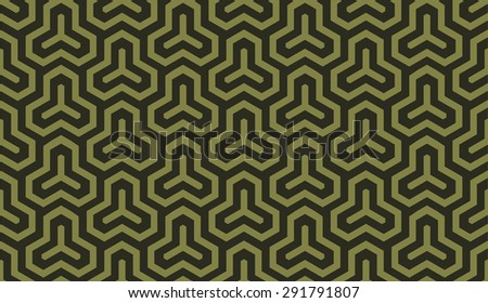 Seamless olive green isometric hexagonal symmetry medieval pattern vector - stock vector