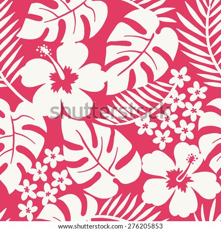 Seamless one color tropical flower pattern - stock vector