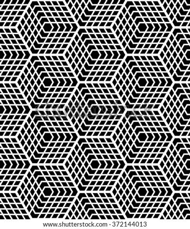 Seamless op art geometric pattern. Latticed structure. Vector art. - stock vector