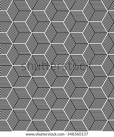 Seamless op art pattern. 3D illusion. Geometric texture. Vector art. - stock vector