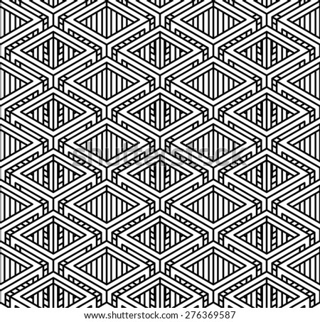 Seamless optical ornamental pattern with three-dimensional geometric figures. Intertwine black and white composition. - stock vector