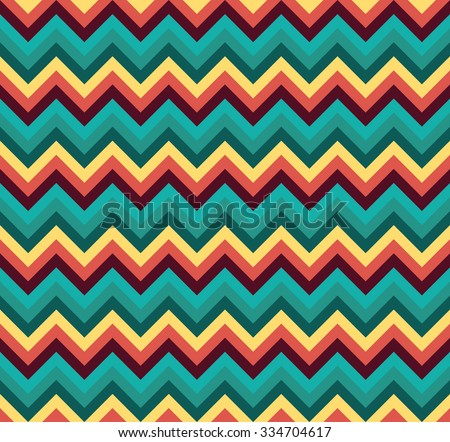 Seamless orange and cyan double palette blend chevron zigzag pattern vector - stock vector