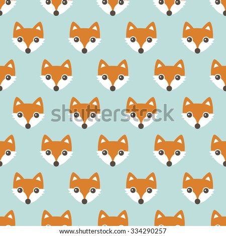 Seamless orange foxes cute kids woodland fox theme in pastel mint and orange illustration background pattern in vector - stock vector