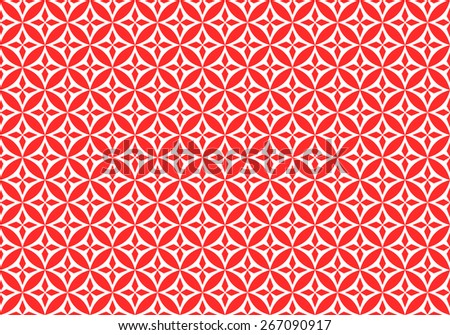Seamless Oriental Pattern of Red Flower of  Four Petals. - stock vector
