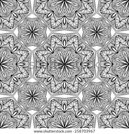 Seamless, Oriental, vector, geometric pattern of black elements on a white background. Thin lace pattern. Traditional mosaic. decoration of mandalas. - stock vector