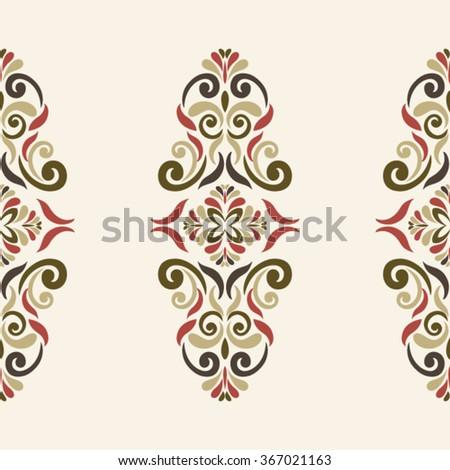 Seamless Ornament Border  in marsala-brown-beige colors - like retro tiles - stock vector