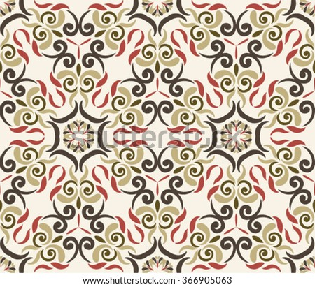 Seamless Ornament pattern.  in marsala-brown-beige colors - like retro tiles - stock vector