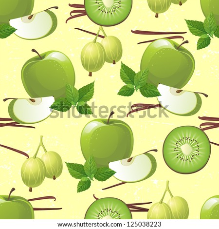Seamless ornament with green fruits - apple, kiwi, gooseberry and mint.  Made with clipping mask. EPS 10 - stock vector