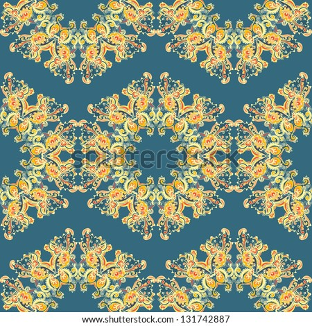 seamless ornament with many details. Excellent background - stock vector