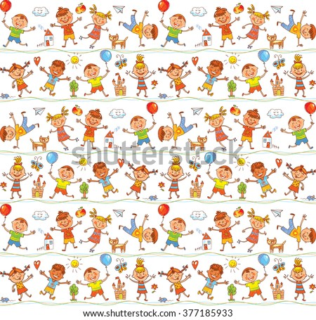 Seamless ornamental pattern for kids, web sites, textile industry, magazines. In the style of children's drawings. Freehand drawing. Vector illustration. Isolated on white background - stock vector