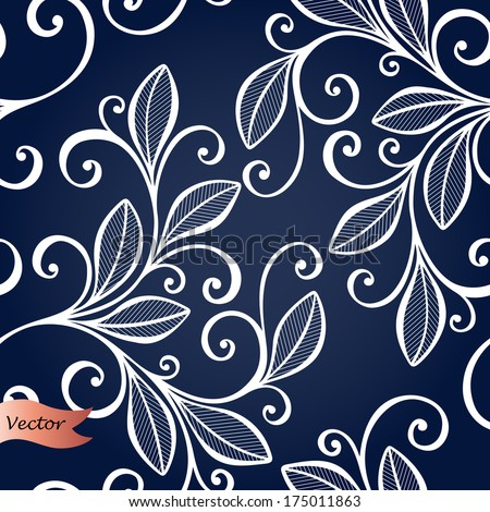 Seamless Ornate Floral Pattern with Leaves (Vector) - stock vector