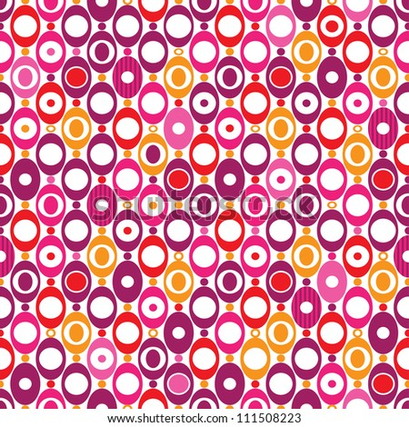 Seamless oval sphere seventies mod pattern background in vector - stock vector