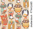 Seamless owl pattern. - stock vector
