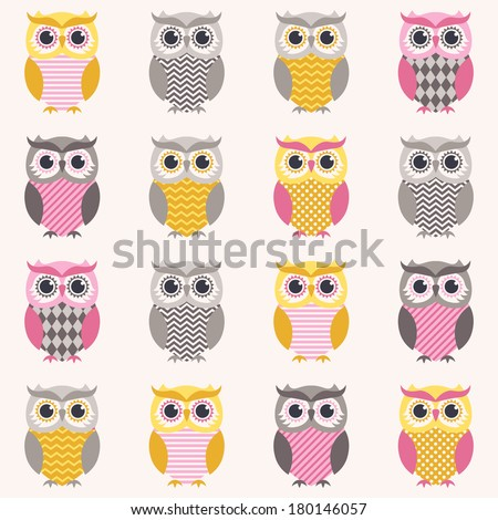 seamless owl pattern - stock vector