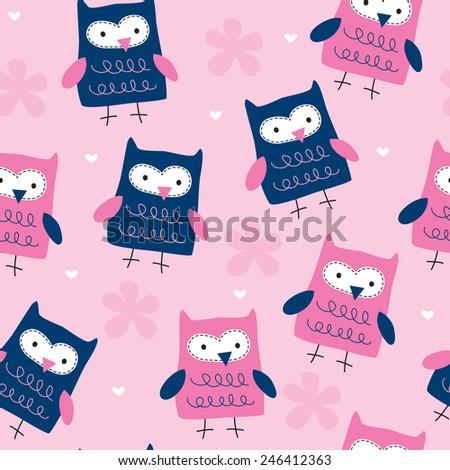 seamless owl pattern vector illustration - stock vector