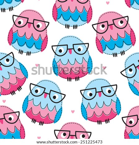 seamless owl with glasses pattern vector illustration - stock vector