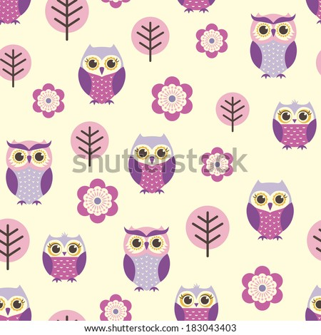 seamless owls and flowers pattern - stock vector