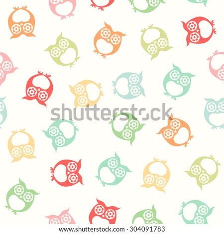 seamless owls wallpaper background pattern - stock vector