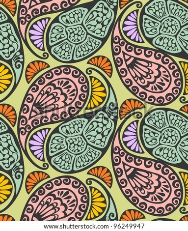 Seamless paisley and floral pattern-model for design of gift packs, patterns fabric, wallpaper, web sites, etc. - stock vector