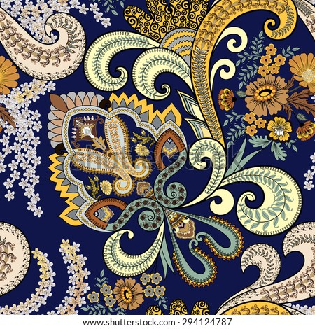 seamless paisley pattern is decorated with branches of lilac, bouquet of flowers and a yellow and beige with swirls ornament on a dark blue background - stock vector