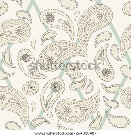 Seamless paisley pattern, thin lines variation. Pattern color swatch included - stock vector