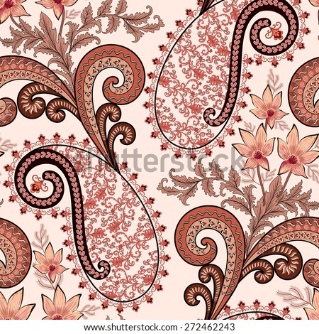 seamless paisley pattern with leaf ornament, bordered with  pink festoons, decorated with swirls, leaves and flowers in pink and burgundy colors on light background - stock vector