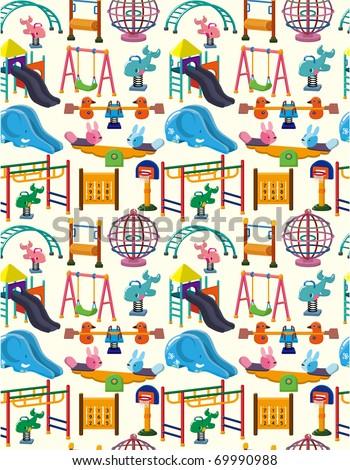 seamless park playground pattern - stock vector