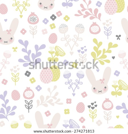 Seamless pastel bunny spring blossom and easter eggs illustration background pattern in vector - stock vector