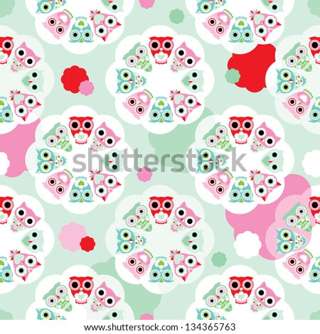 seamless pastel flower owl background pattern for kids in vector - stock vector
