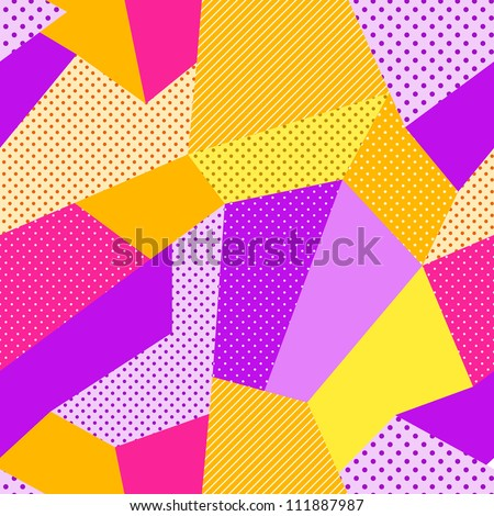 Seamless Patch Work Pattern. Vector Background - stock vector