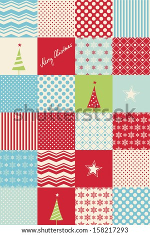 seamless patchwork christmas pattern - stock vector