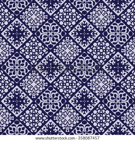 seamless patchwork pattern in dark blue and white glazed tiles, jewelry. Can be used for Wallpaper, pattern fills, background of web page,surface textures. - stock vector