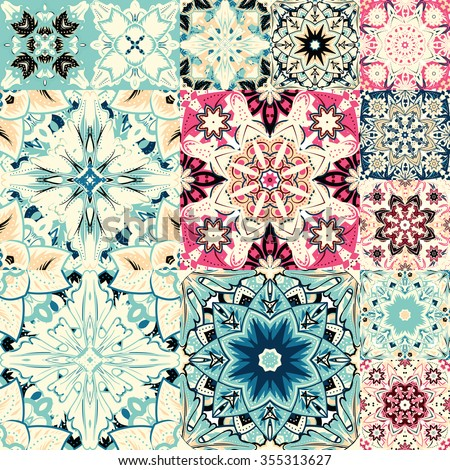 seamless patchwork tile with Victorian motives in blue and beige - stock vector