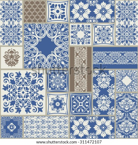 seamless  patchwork tile with Victorian motives in blue and grey - stock vector