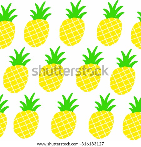 Seamless patten with sweet yellow pineapples. Vector repeated background. - stock vector