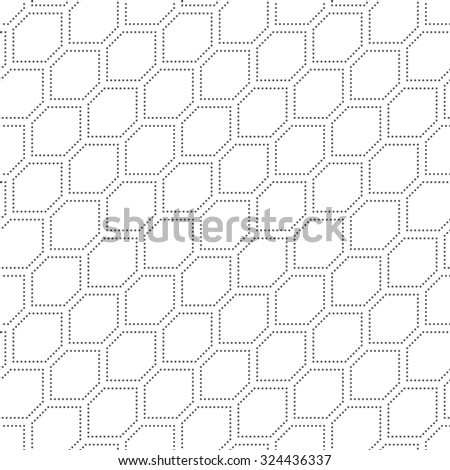 Seamless pattern. Abstract dotted textured background. Simple texture with regularly repeating geometrical shapes, diagonal dotted hexagons. Vector element of graphical design - stock vector