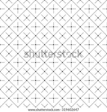 Seamless pattern. Abstract geometrical background. Modern stylish texture with small dots. Regularly repeating dotted rhombuses and crosses. Vector element of graphical design - stock vector